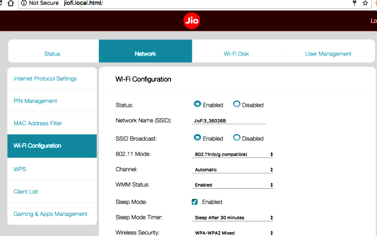 change jiofi router password